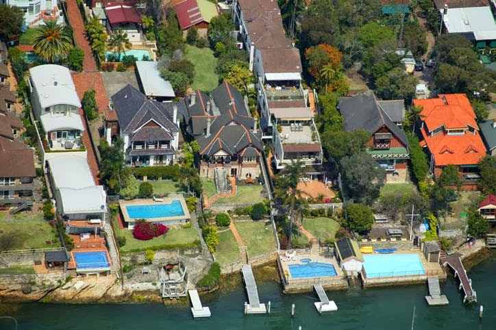 42 and 44 Drummoyne avenue, aerial view looking South