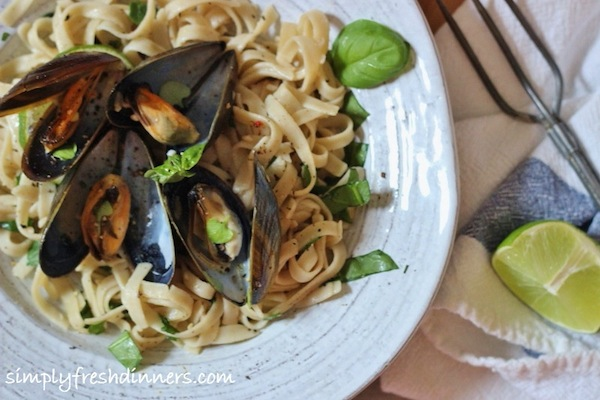 Mussels With Coconut, Ginger, and Lime by Simply Fresh Dinners