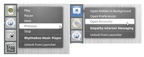 Ubuntu 12.04: Aggiunte le quicklist per Empathy e Rhythmbox