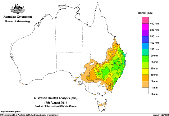 17th aug 2014 rain totals for OZ