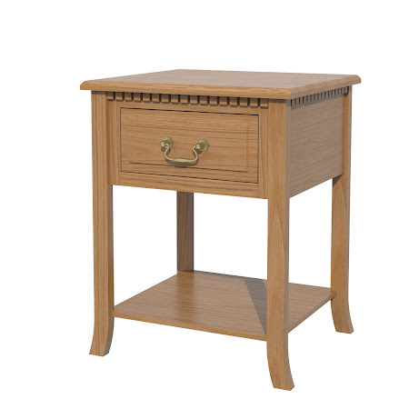Lisbon Nightstand with Shelf, Natural Oak