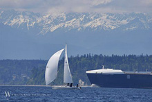 J/105 sailing offshore in Seattle Puget Sound