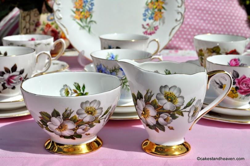 Gladstone fine bone china vintage milk jug and sugar bowl