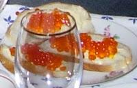 Caviar (roe) sandwiches