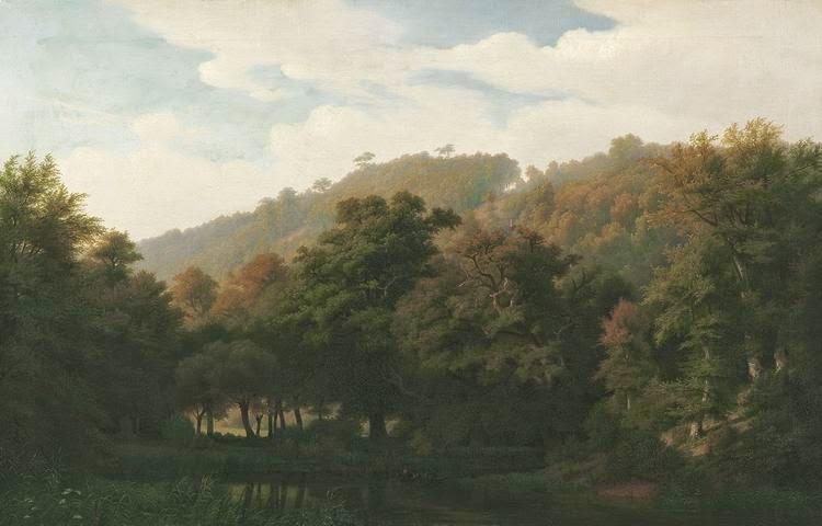 Johann Wilhelm Schirmer - Sommerliche Waldlandschaft mit kleinem See