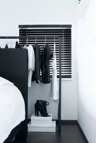 The home of a fashion blogger | A bedroom in concrete & black
