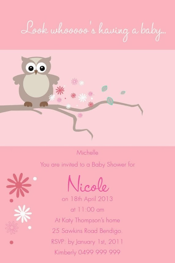 invitations mother owl postcard in pink baby shower invitations