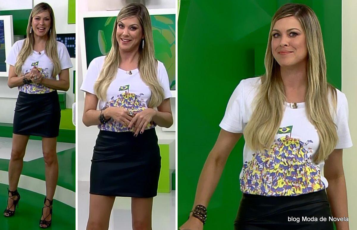 moda do programa Jogo Aberto - look da Renata Fan dia 21 de maio