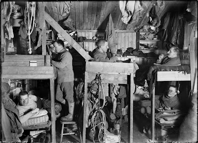 The Tenements - bunks in hut of Bowers, Cherry-Garrard, Oates, Meares and Atkinson. 9 October 1911. British Antarctic Expedition, 1910-13Photographer: Herbert Ponting