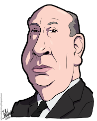Cartoon caricature of Alfred Hitchcock