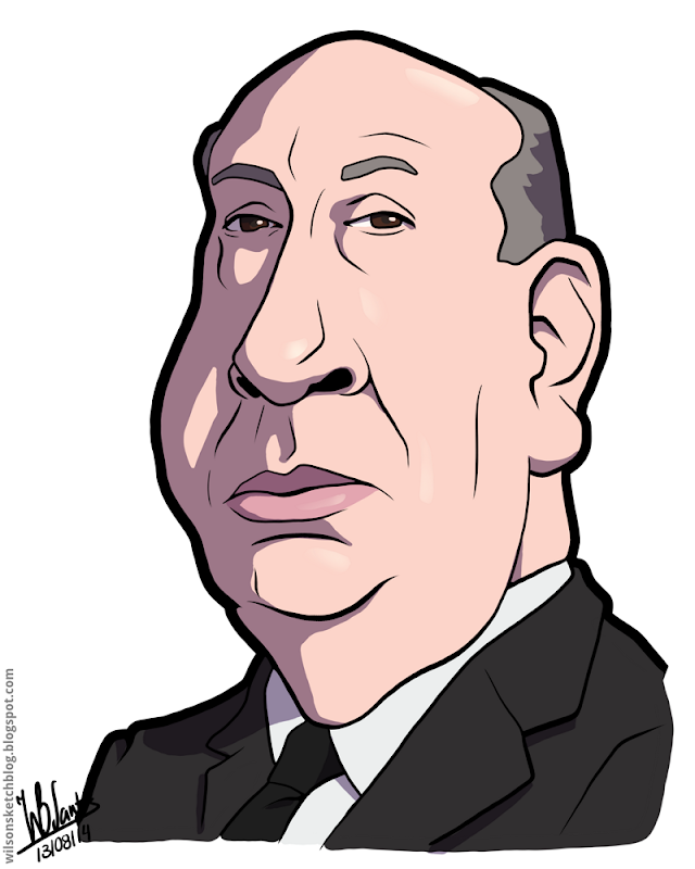 Cartoon caricature of Alfred Hitchcock.