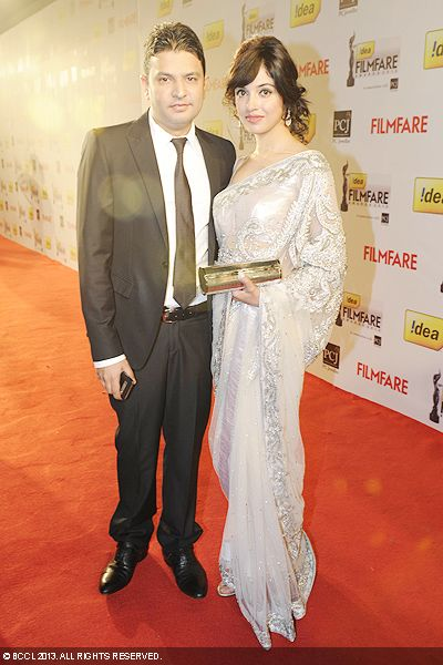 Bhushan Kumar, chairman of T-Series, with wife Divya at the 58th Idea Filmfare Awards in Mumbai.Click here for:<br />  58th Idea Filmfare Awards