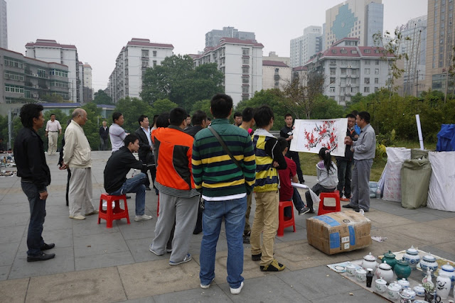 painting auction above the Tianxinge Antique City in Changsha, China
