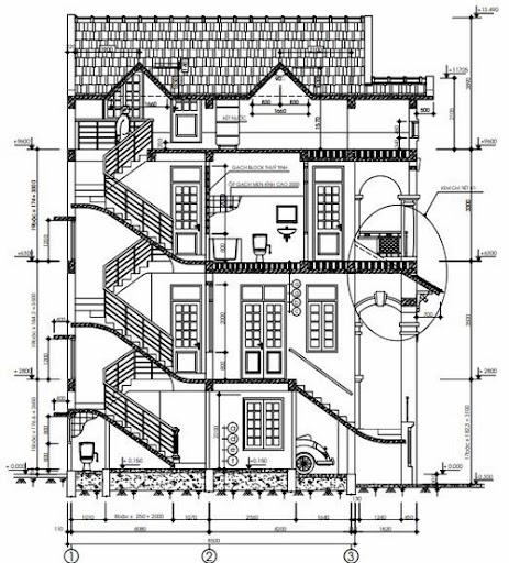 Bản vẽ mặt cắt A-A của nhà phố