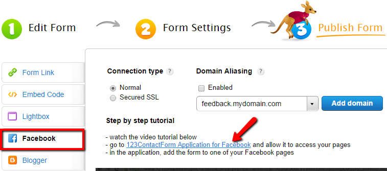 add forms to Facebook page