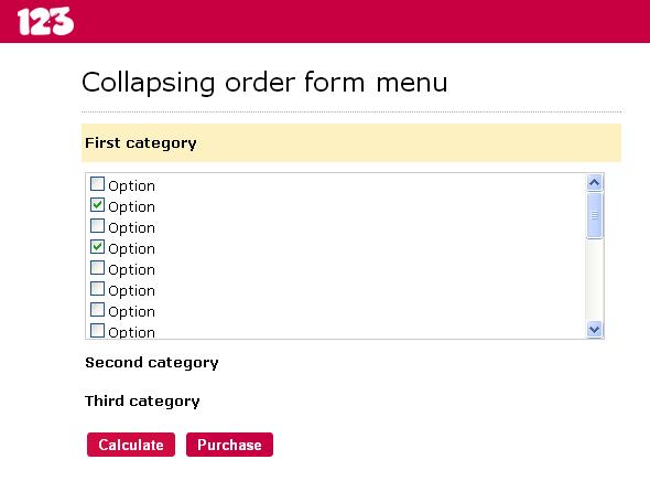 collapsing menu form