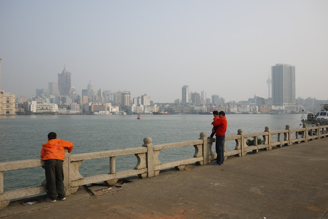 view of Macau from across the harbor in Zhuhai