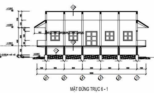 Mặt cắt trục 6-1 nhà sàn 2 tầng