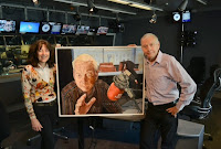 John Humphrys and me with my portrait of him in BBC Radio 4's Today 15 May 2014 by Jeff Overs