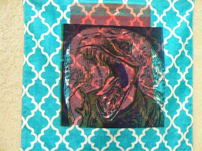 raptor, bandana, art, print, printmaking, screenprint, silk screen