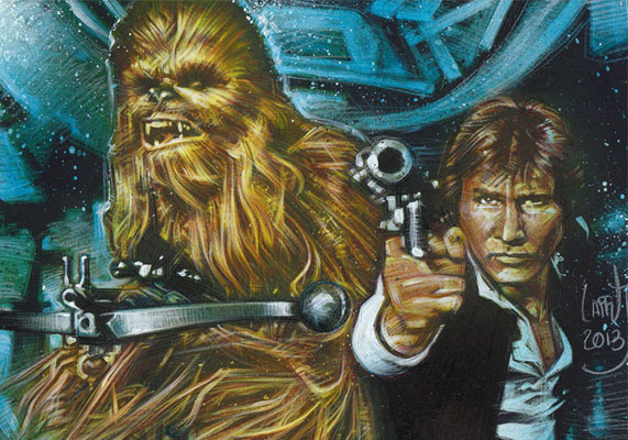 Harrison Ford and Peter Mayhew as  Han Solo & Chewbacca, ACEO Sketch Card by Jeff Lafferty