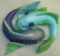 Purple, blue and green pices sugar fish made for the Picean vibe party