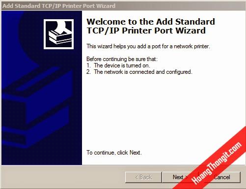 Tạo các cổng IP cho máy in ( IP Printer Port)