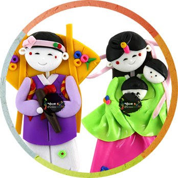 Korean Folk Art Couple Magnetic Memo Holder