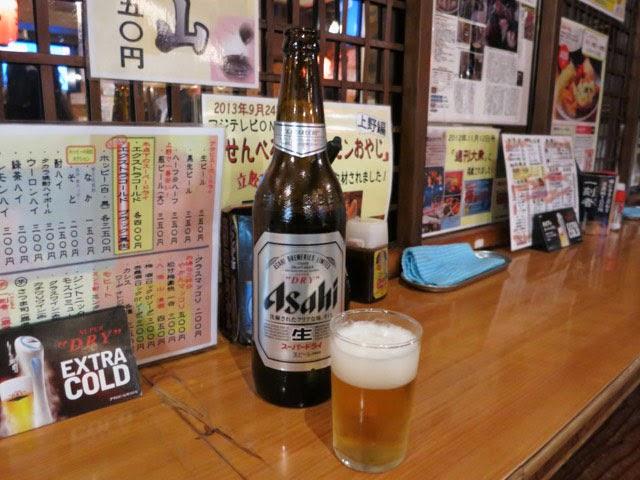 立ち飲みカドクラのビール大瓶350円