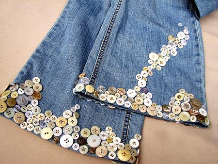 Inspiração: botões na barra da calça jeans