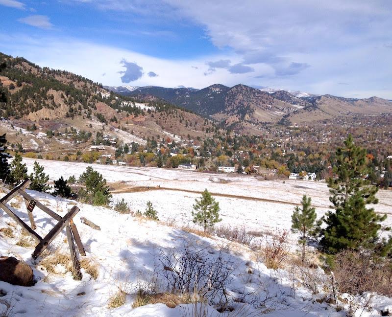 View of the mountain range next to Boulder