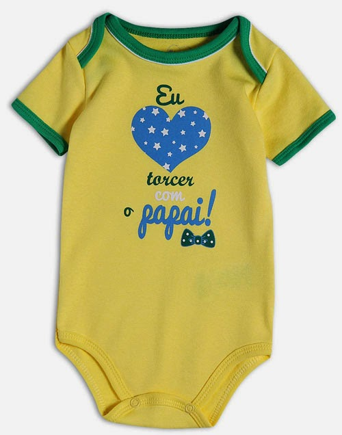 Body engraçado para bebês com o tema da Copa do Mundo