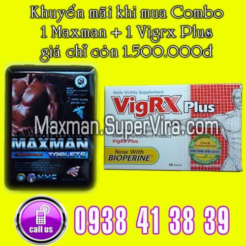 Maxman 3800mg khuyến mãi đặc biệt Combo 1 Vigrx Plus + 1 Max man giá chỉ có 1.500.000đ