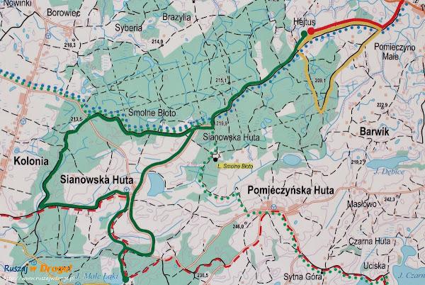 Na trasie Nordic Walking w Hejtusie - mapa trasy