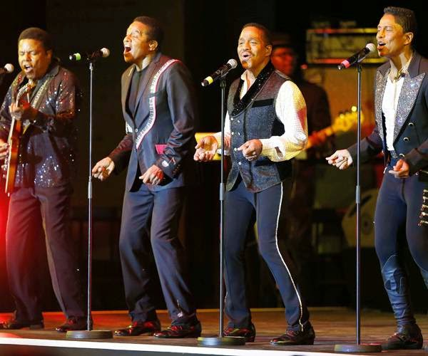 (L-R)The Jackson: Tito, Jackie, Marlon and Jermaine perform on stage during the Monte Carlo Summer Festival on July 24, 2014 in Monaco.