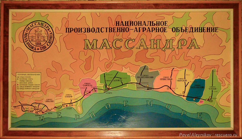 Схема расположение совхозов Массандры