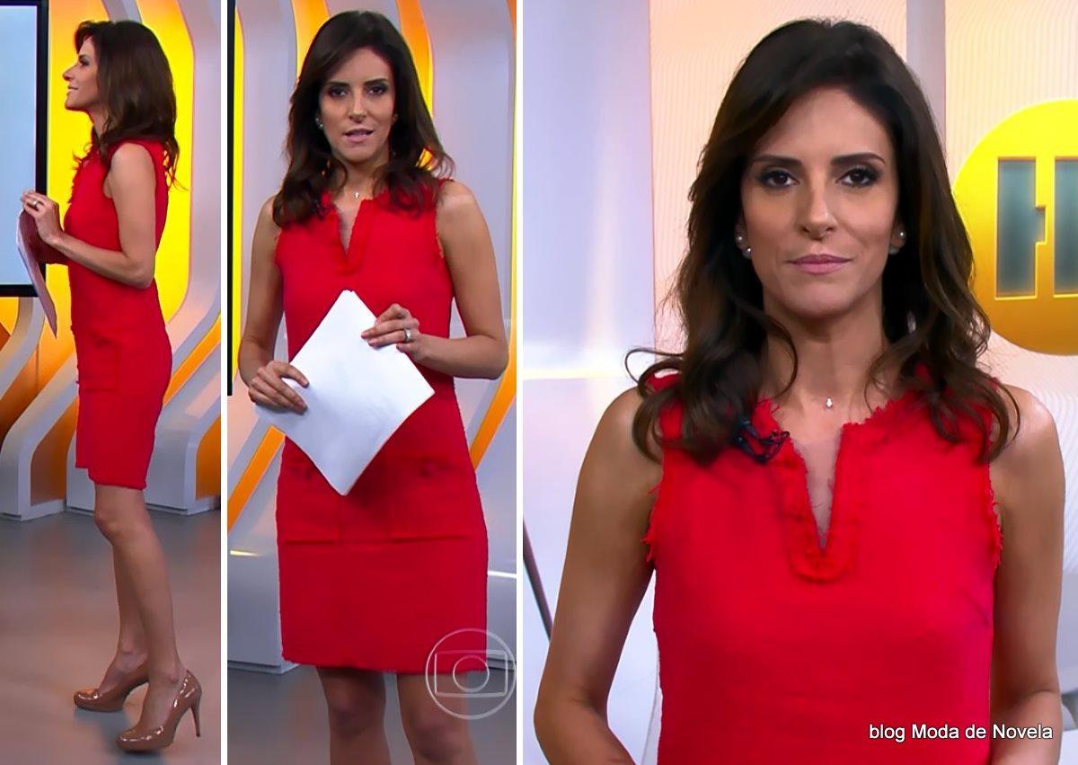 moda do programa Hora 1, vestido vermelho da Monalisa Perrone dia 3 de dezembro