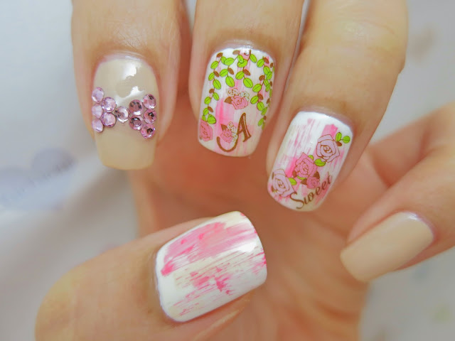 Spring Rose Garden Water Decal Nail Art HOT169