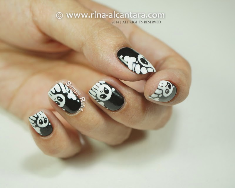 Halloween Skulls and Bones Nail Art