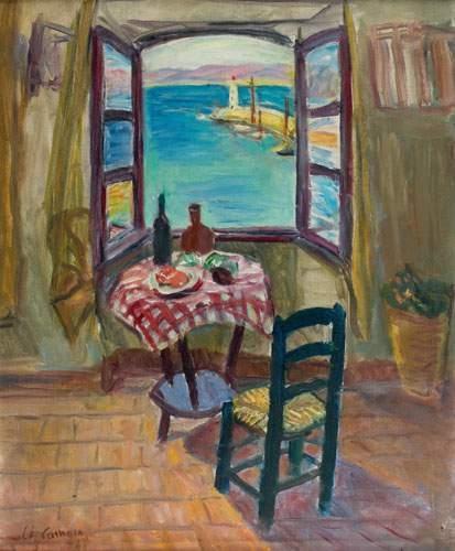 Charles Camoin - Fenêtre ouverte sur le port de Saint-Tropez.