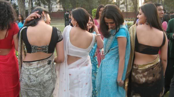Hot Saree Backs: College Girls Showing blouse backs