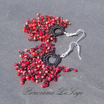 kolczyki szydełkowe biżuteria szydełkowa koraliki szklane rękodzieło Panorama LeSage Kolczyki rosa Jablonex