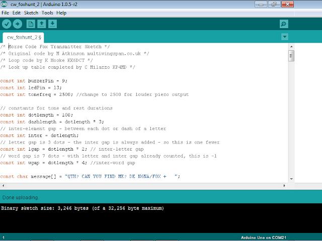 Arduino microcontroller code