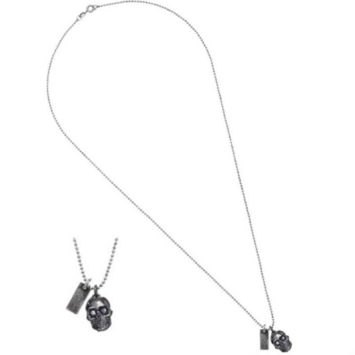 Marc by Marc Jacobs Charm Skull Gun Metal Necklace