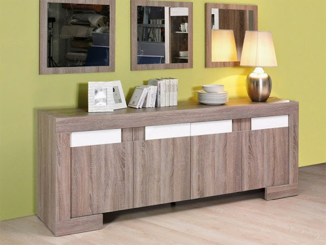 buffet blanc laqu et bois. Black Bedroom Furniture Sets. Home Design Ideas