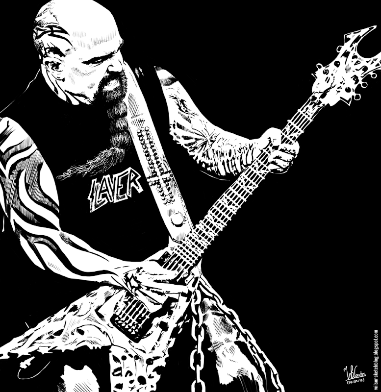 Ink drawing of Kerry King from Slayer (heavy metal band), using Krita 2.4.
