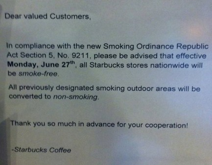 starbucks no smoking