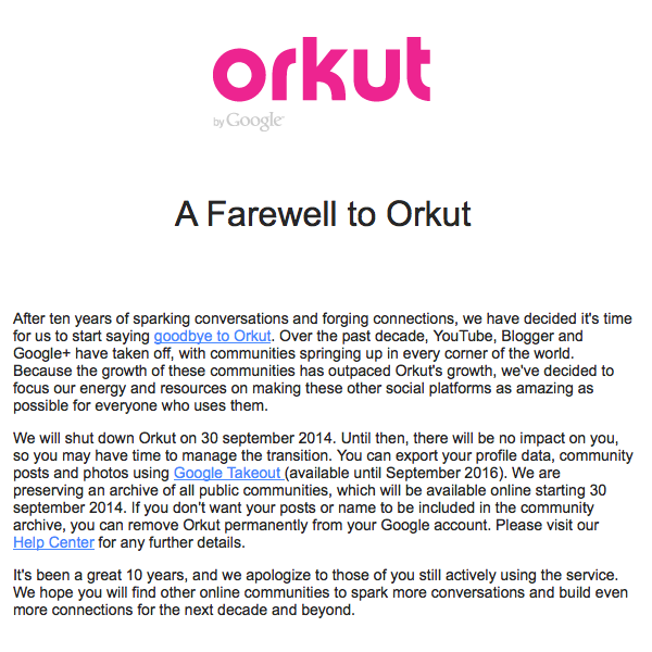 A Farewell to Orkut