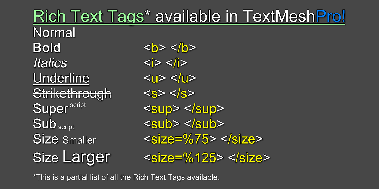 Extra Rich Text Tags
