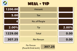 Tip Calculator - Split Bills - Food and Drinks v2.4 BlackBerry App